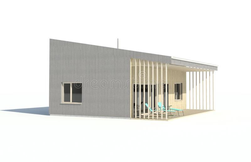 3d render - isolated visualisation of the single family house. Architectural rendering. Architectural visualisation of the modern single family house or bungalow vector illustration