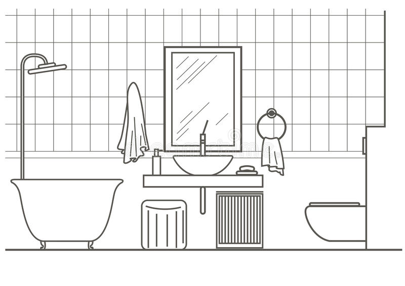 Line Drawing Toilet : Architectural sketch bathroom interior front view stock