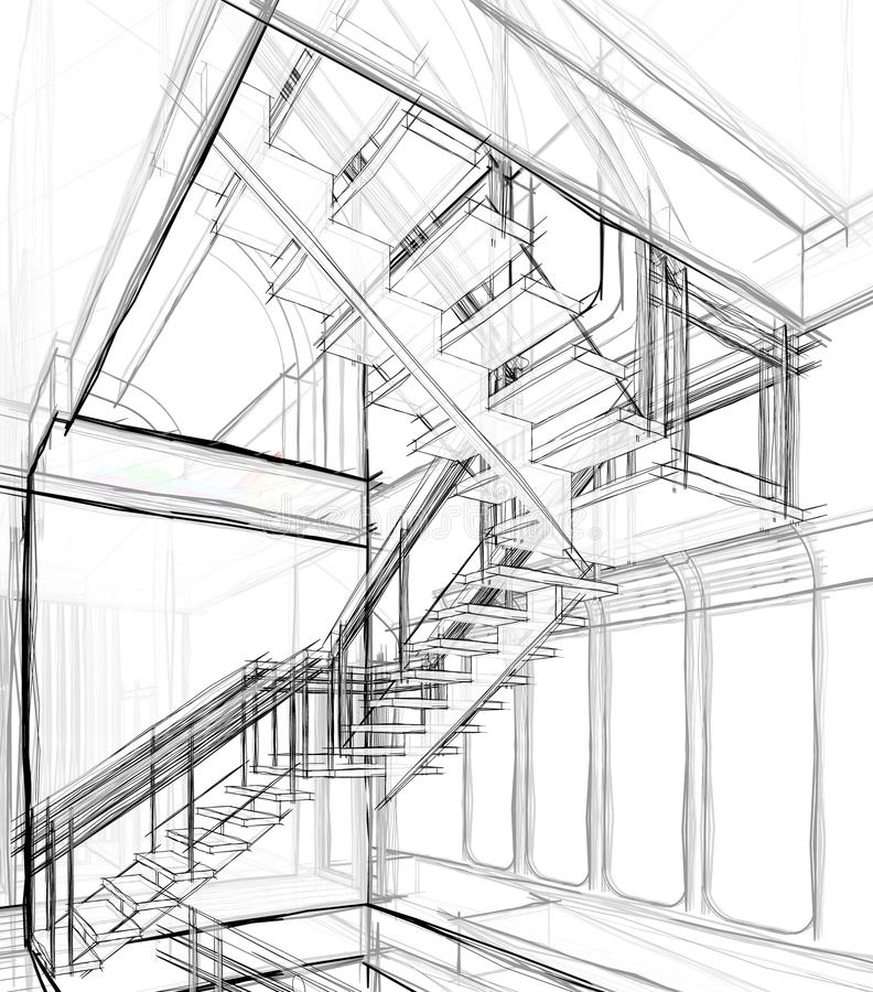 Free Architectural Sketch Drawing Royalty Free Stock Photos - 102752578