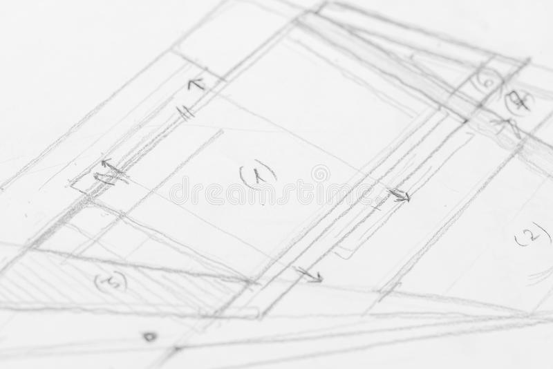 Architectural Sketch Drawing. Close Up royalty free stock image