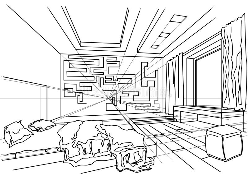 Architectural sketch interior of modern bedroom stock vector download architectural sketch interior of modern bedroom stock vector illustration of indoors blueprint malvernweather Choice Image