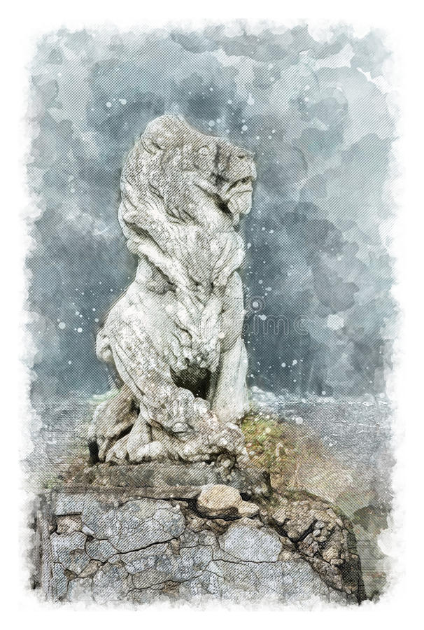 Architectural sketch Sculpture of a lion in an old noble manor royalty free stock images