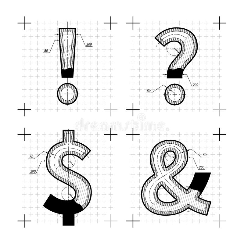 Architectural sketches of special chars letters blueprint style download architectural sketches of special chars letters blueprint style font stock vector illustration malvernweather Gallery