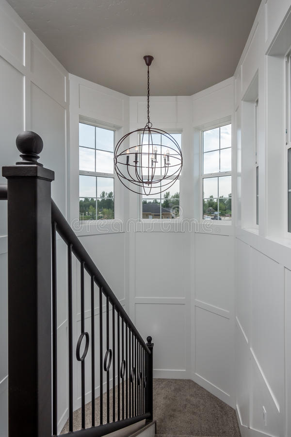 Architectural Staircase Newly Constructed Home. Architectural staircase in newly constructed home royalty free stock image