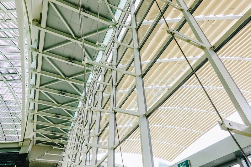 Architectural structure of the dome of the The Shoppes at Marina Bay Sands shopping mall stock image