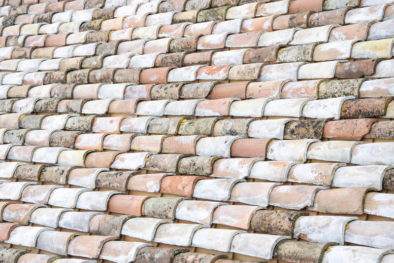 Architectural theme. Weathered roof tile background, Italian roof. stock photography
