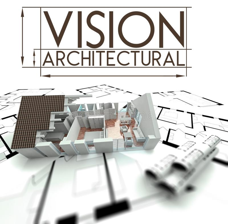 Architectural vision with project of house on blueprints vector illustration