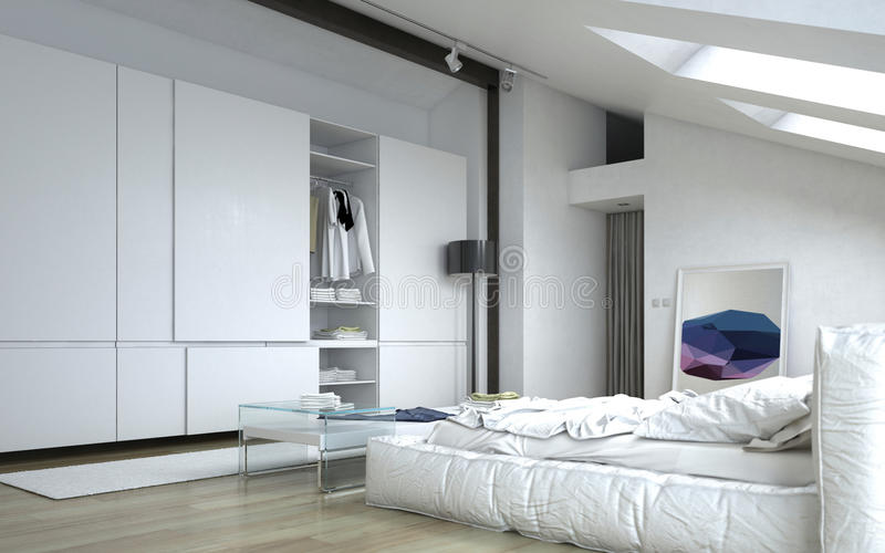 Architectural White Bedroom with Wall Cabinets royalty free illustration