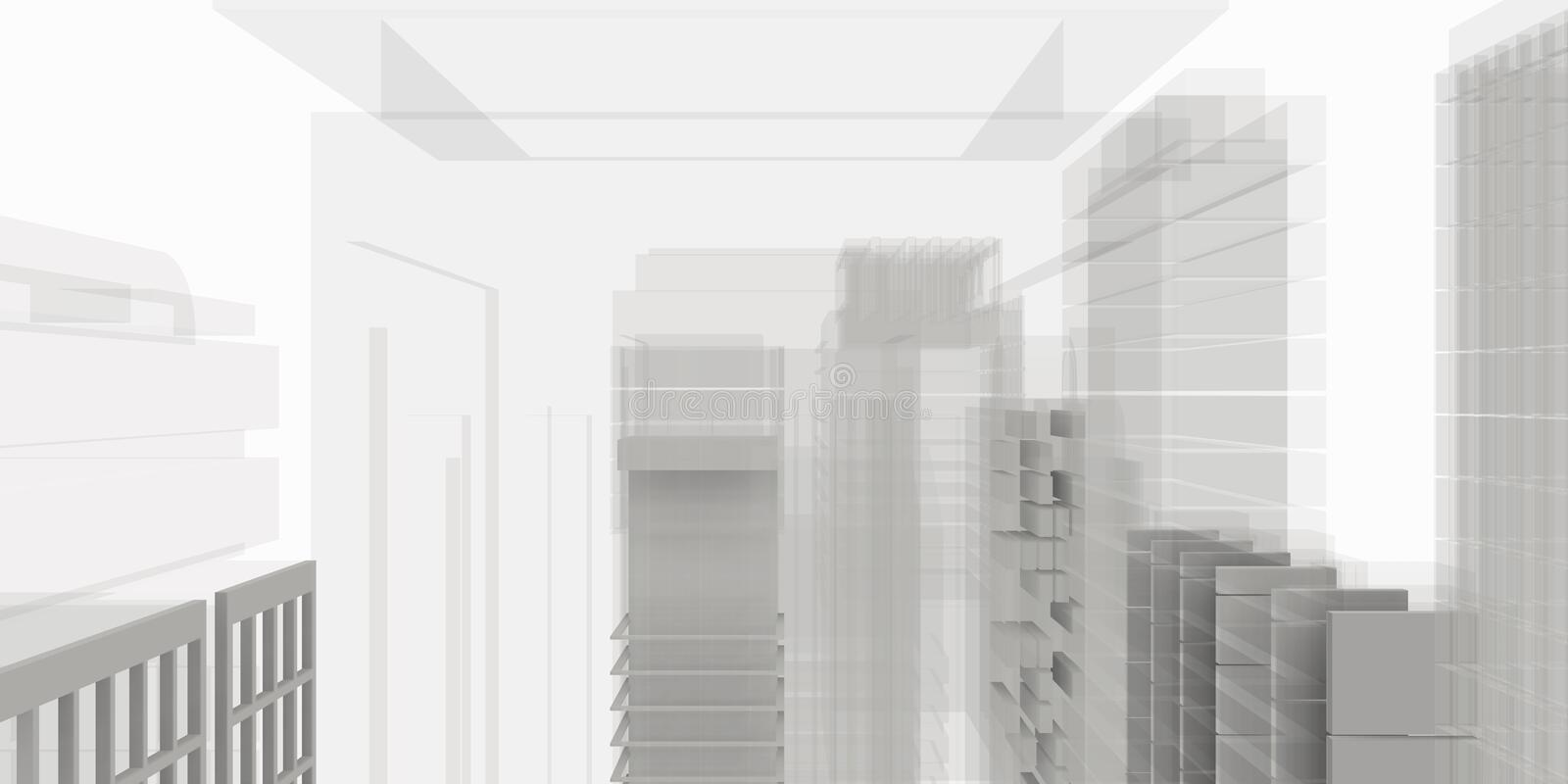 Architectural work of draw in white soft environment stock photos