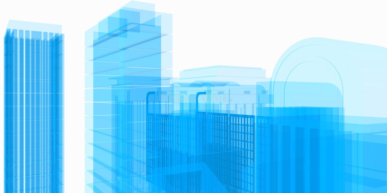 Blue structure of architectural work of draw in white soft environment royalty free stock photos