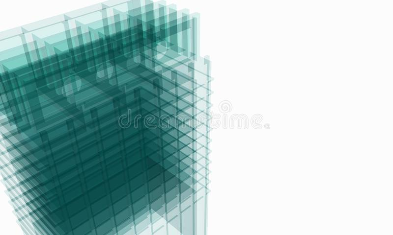 Green structure of architectural work of draw in white soft environment royalty free stock photography