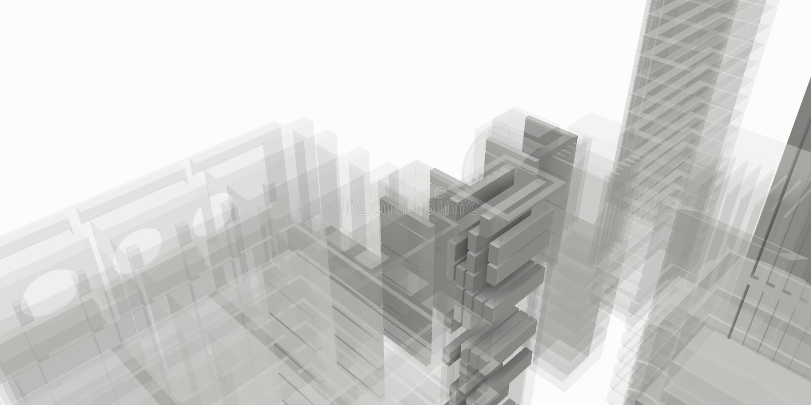 Grey structure of architectural work of draw in white soft environment stock photography
