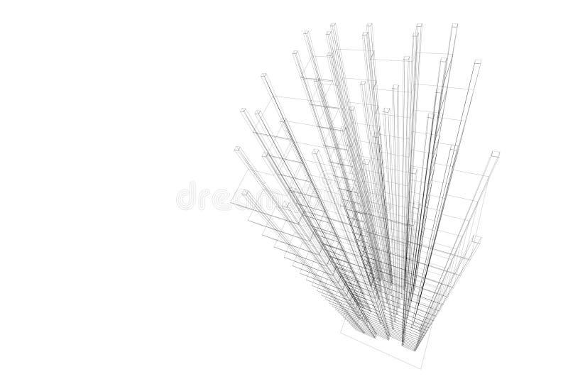 Architecturale abstractie-draad royalty-vrije illustratie