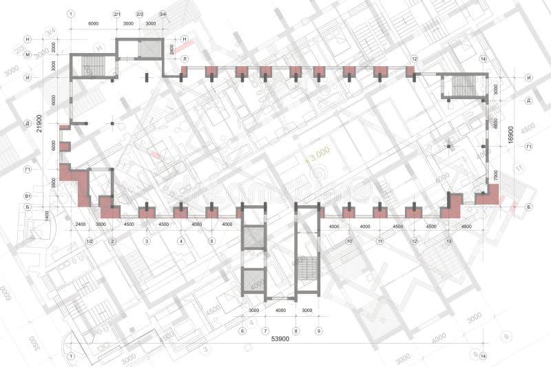 Architecturale achtergrond met technische tekeningen E r royalty-vrije stock fotografie