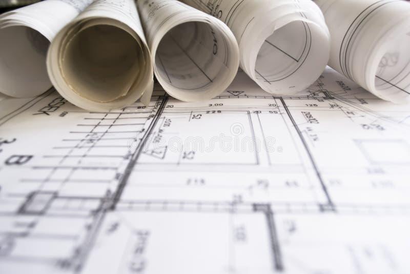 Architecturale blauwdruk stock foto