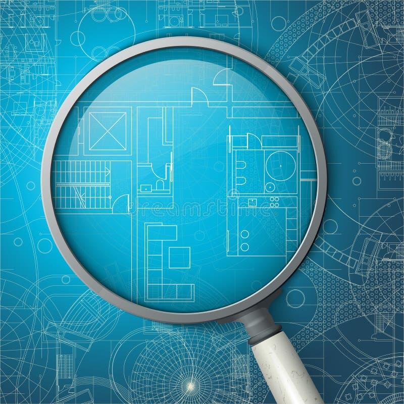 Architecturale blauwdruk stock illustratie