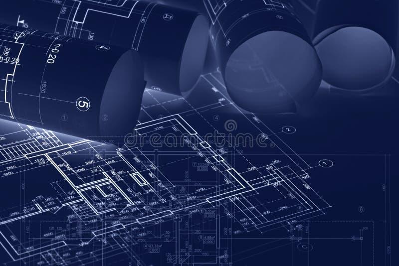 Architecturale blauwdrukbroodjes over techniekplannen en sketche stock illustratie