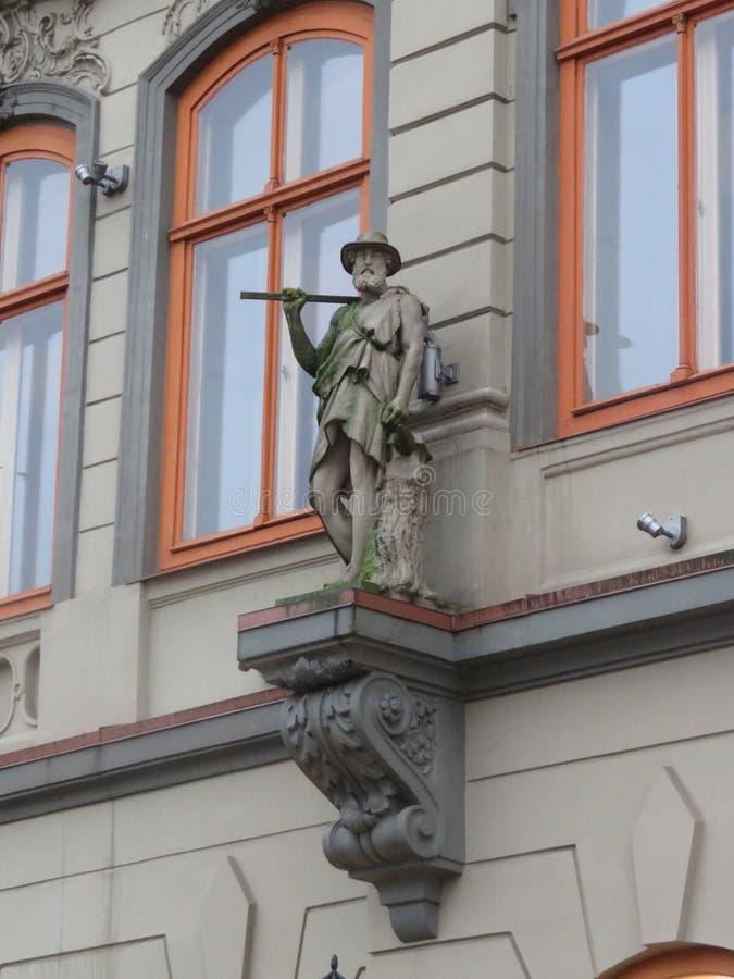 Architecturale decoratie van gebouwen in Riga royalty-vrije stock fotografie