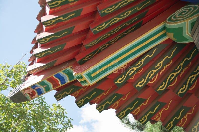 Architecturale details van Chinees traditioneel dak royalty-vrije stock afbeeldingen