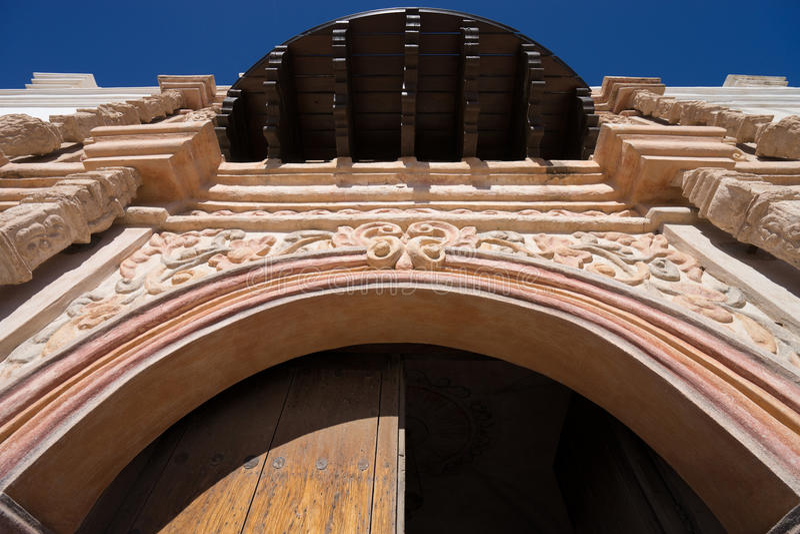 Architecturale details van de opdracht van San Xavier in Tucson stock afbeelding