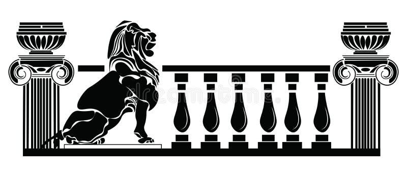 Architecturale kolommen Griekse stijl en Leeuwsilhouet vector illustratie