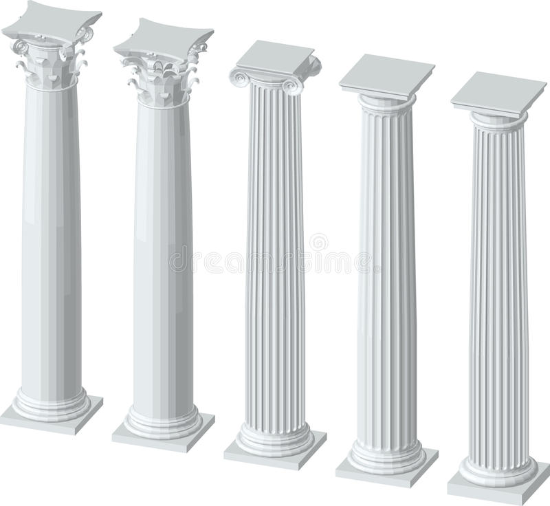 Architecturale kolommen met kapitalen stock illustratie