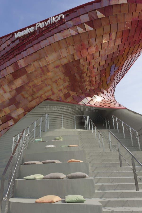 Architecturale mening van Vanke-Paviljoentrap royalty-vrije stock foto's