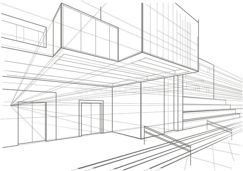 Architecturale schets van een kubiek gebouw royalty-vrije stock afbeelding