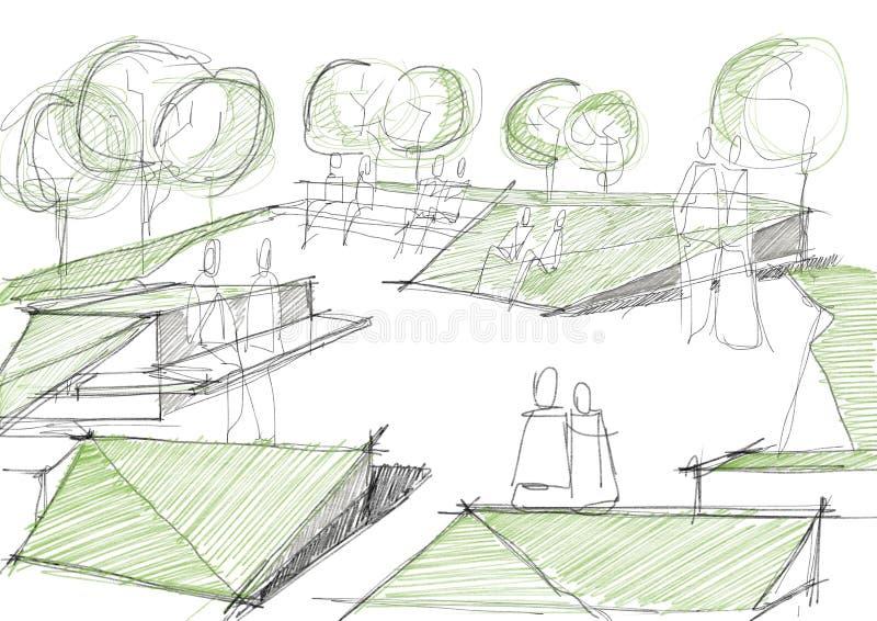 Architecturale Schets van Openbaar Park stock illustratie