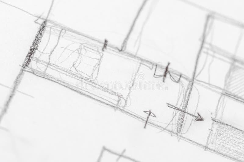 Architecturale Schetstekening royalty-vrije stock fotografie