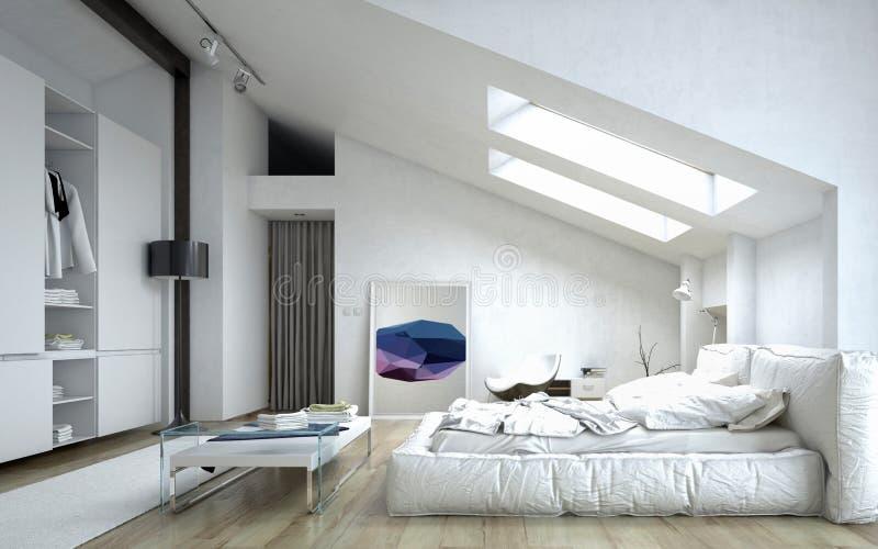 Architecturale Slaapkamer Binnen Wit Huis Stock