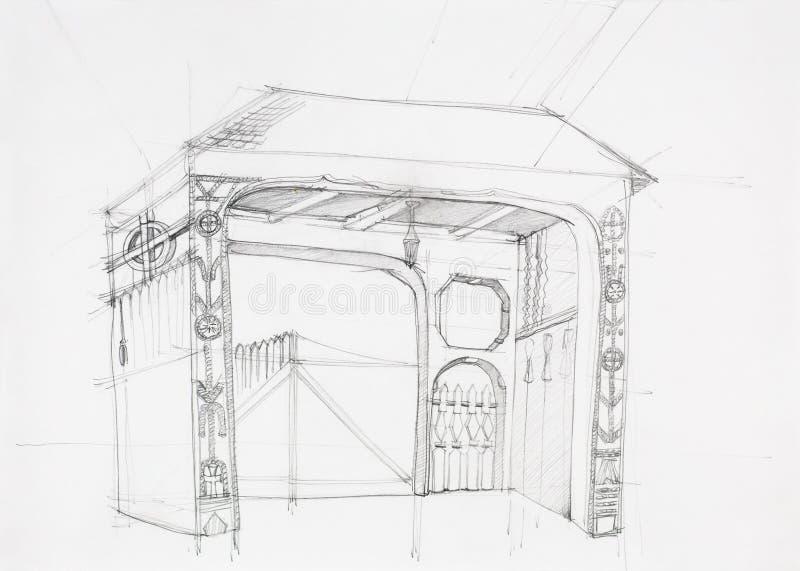 Architecturale tekening van rustieke poort stock illustratie