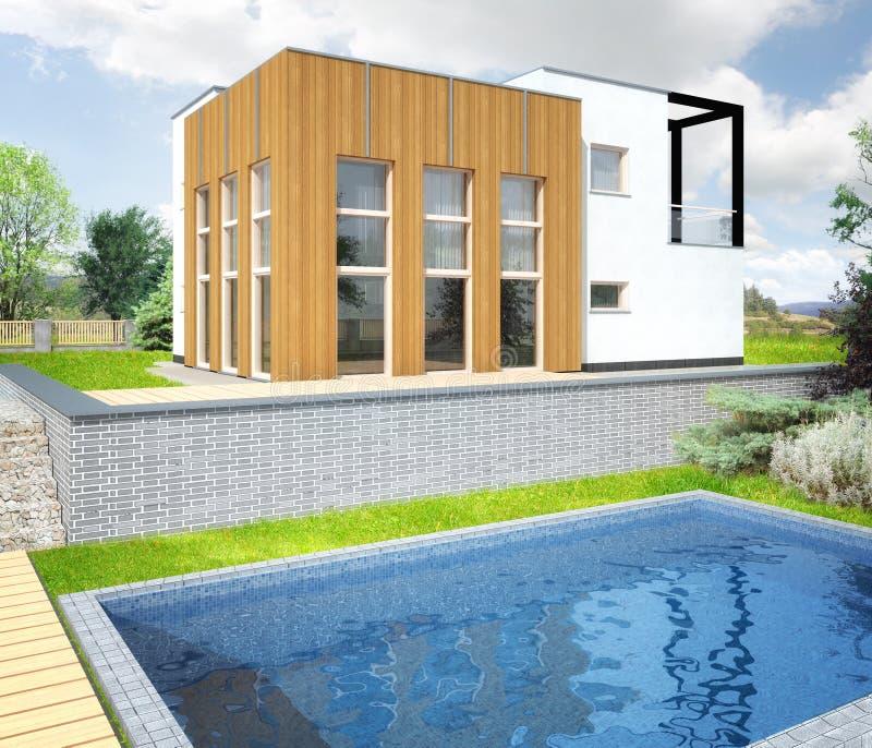 Architecturale visualisatie van huis stock illustratie