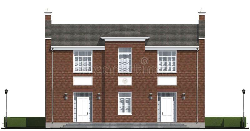 Architecturale visualisatie van klassieke privé woon stock illustratie