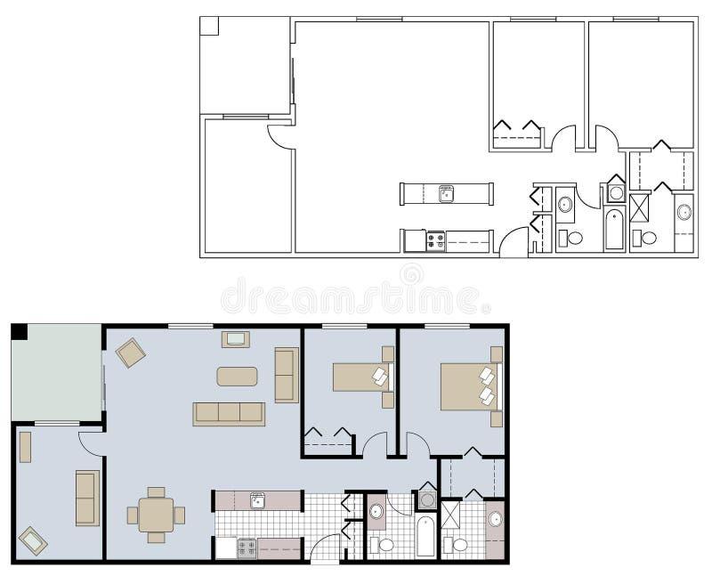 Architecturale vloerplannen royalty-vrije stock foto