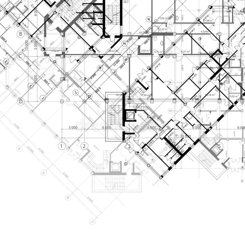 Architecturale zwart-witte achtergrond vector illustratie