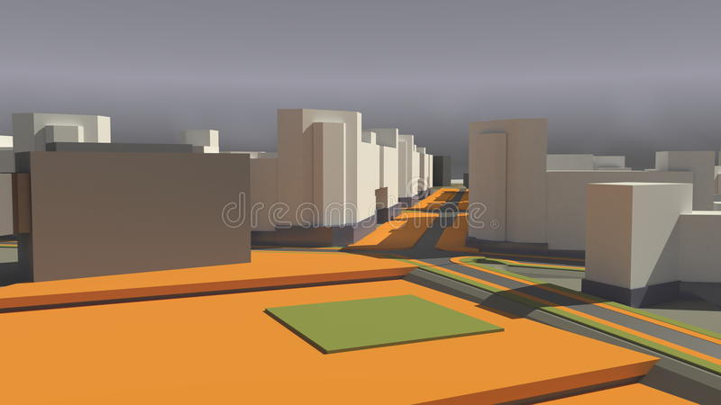 Architecture (3d rendering) royalty free illustration
