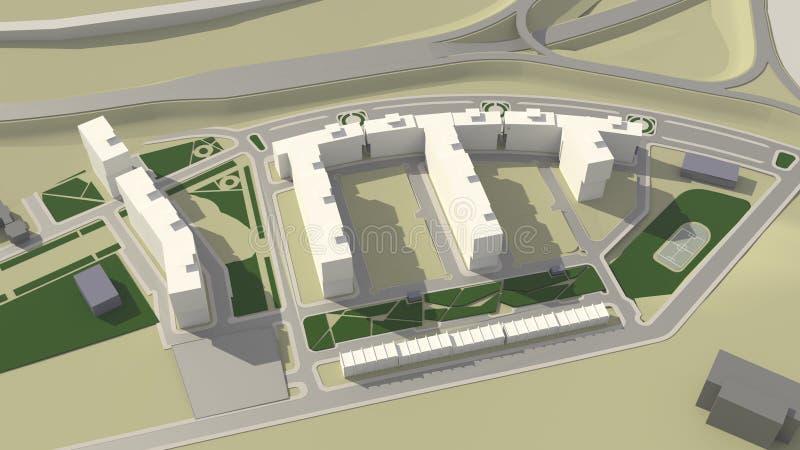 Architecture (3d rendering) stock illustration