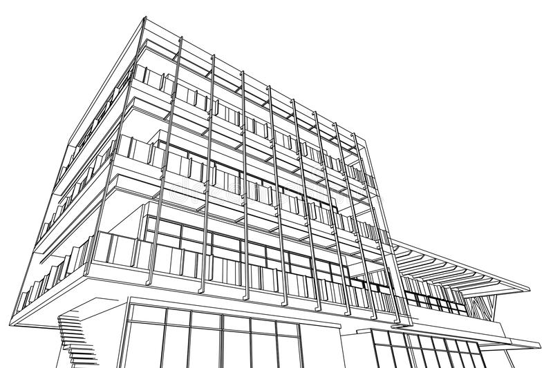 Architecture Abstract, 3d Illustration, Building Structure Commercial  Building Design Perspective