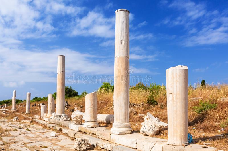 Architecture of ancient Greek ruins in Side, royalty free stock photography