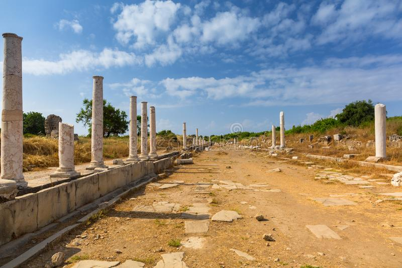 Architecture of ancient Greek ruins in Side, Turkey stock images