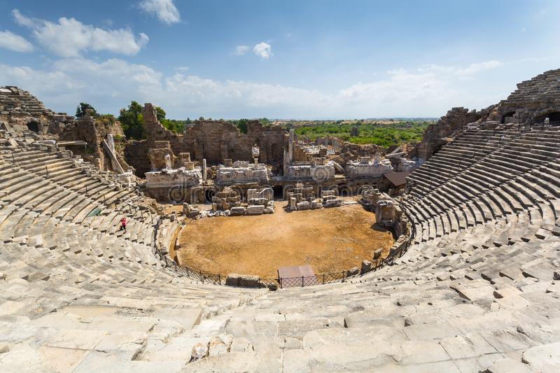 Architecture of the ancient Roman theatre in Side, Turkey royalty free stock image