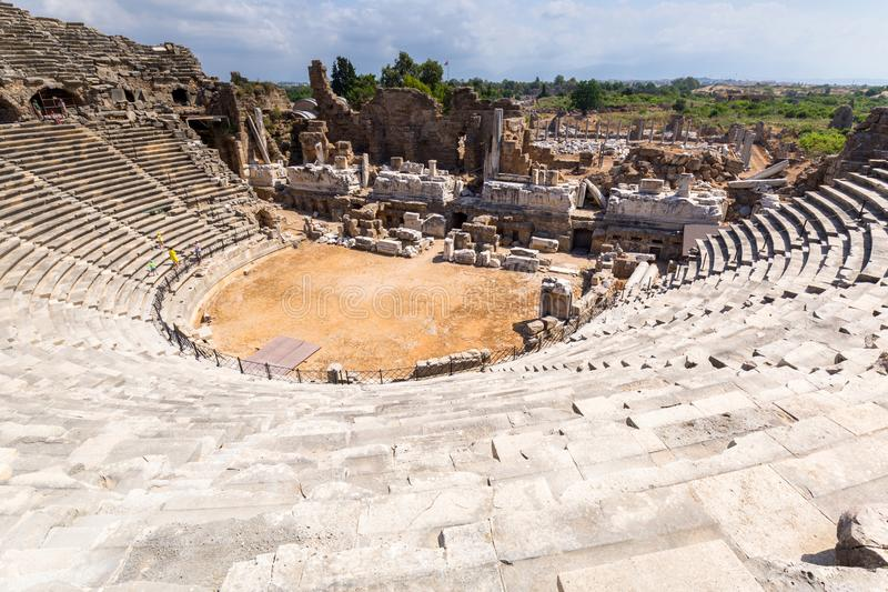 Architecture of the ancient Roman theatre in Side, Turkey royalty free stock photography
