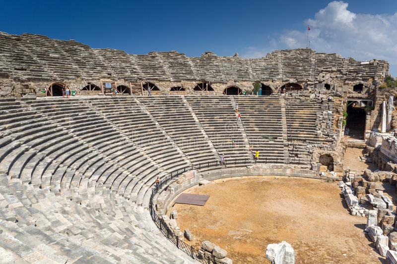 Architecture of the ancient Roman theatre in Side, Turkey stock images