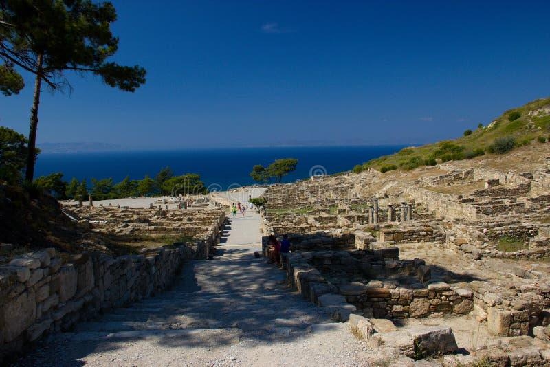 Architecture antique de Kamiros Rhodos Grèce historique photos libres de droits