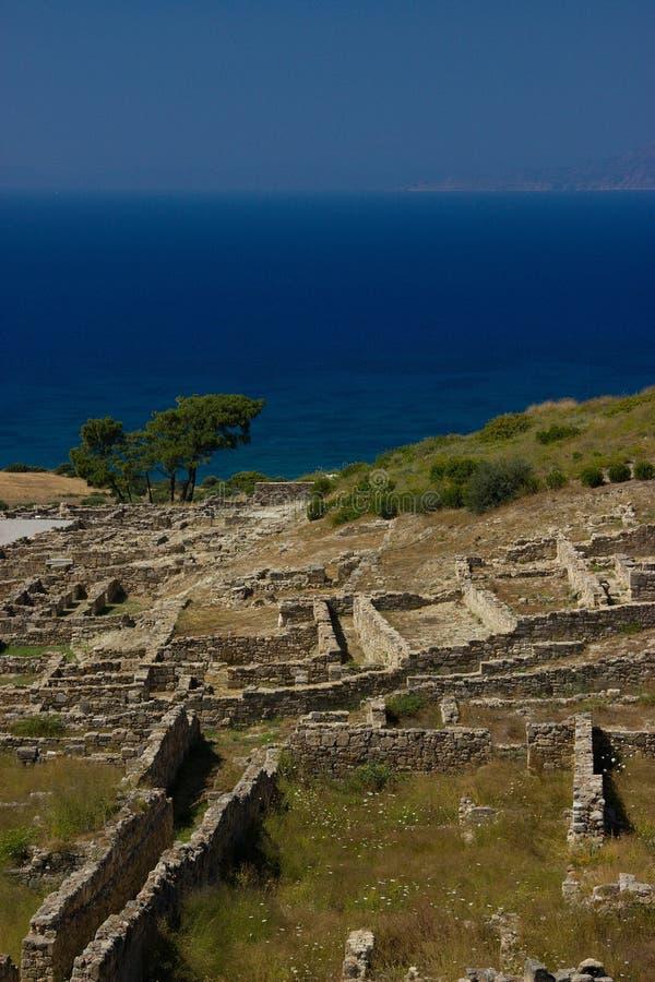 Architecture antique de Kamiros Rhodos Grèce historique image libre de droits