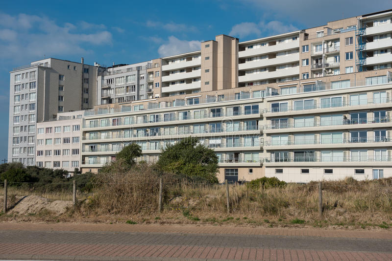 Architecture - Apartment houses in Belgium, Flanders on the North Sea royalty free stock photography