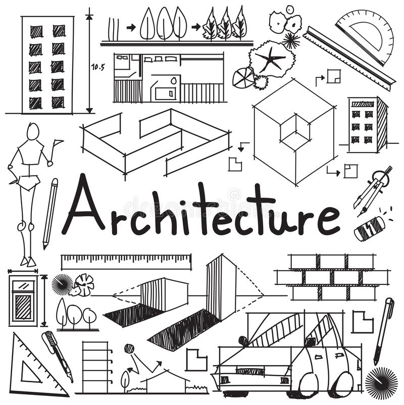 Architecture and architect design building exterior doodle icon architecture and architect design profession and building exterior blueprint handwriting doodle tool sign and symbol in white isolated background paper for malvernweather Gallery