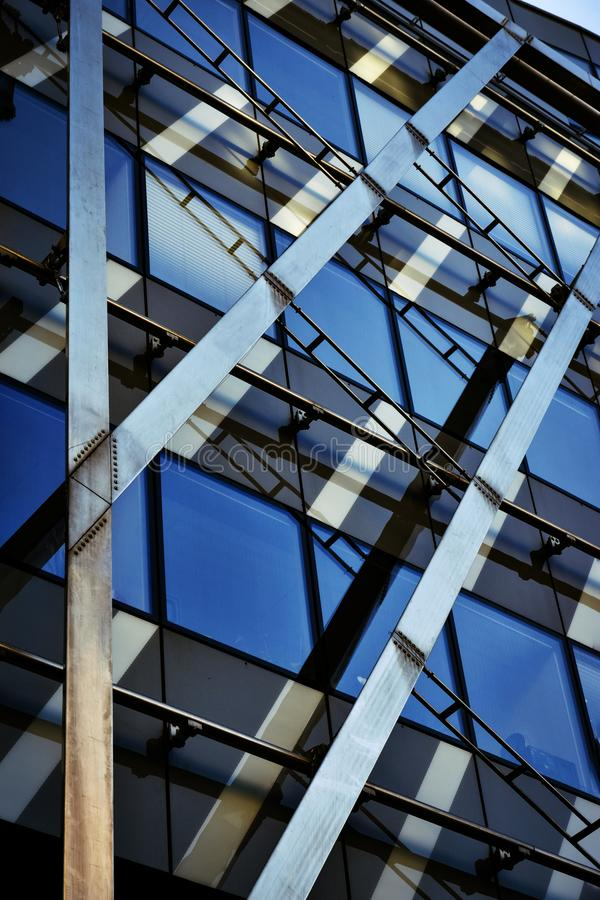 Detail detail glass of steel building royalty free stock photos