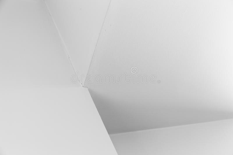 Architecture background, white fragment. Abstract architecture background, white interior fragment with corners and soft shadows, black and white photo royalty free stock photography